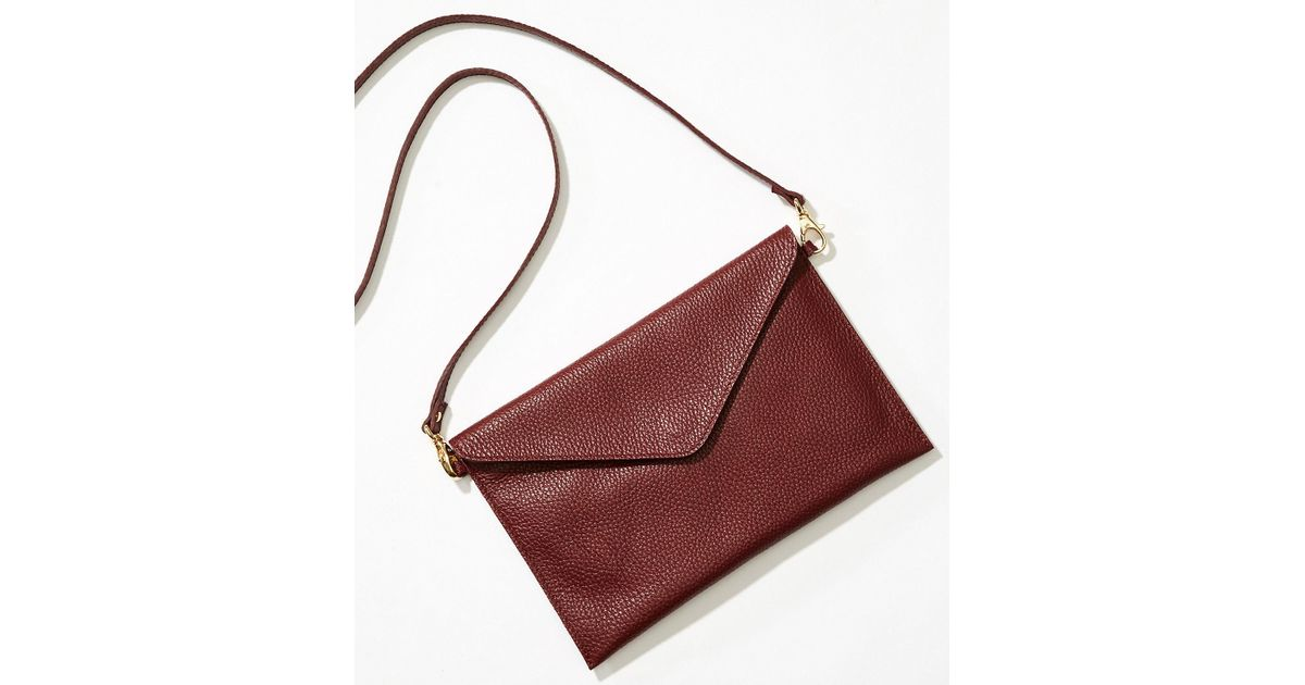 Lyst - LOFT Luxe Leather Envelope Crossbody Bag a873f0247b