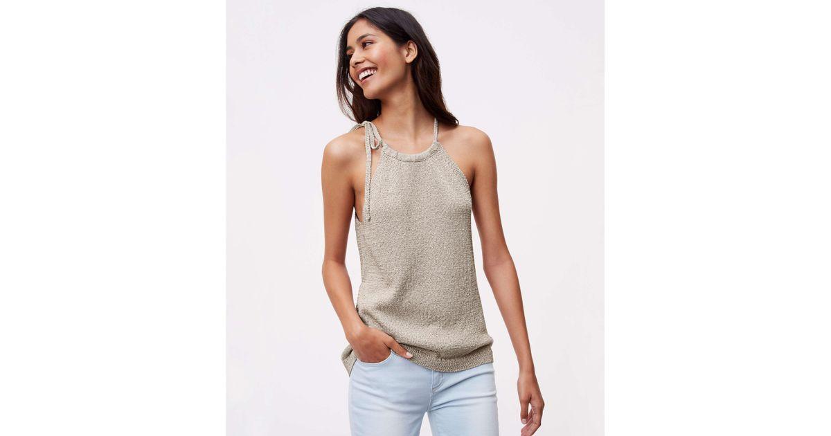33023dbc722 LOFT Shimmer Tie Halter Sweater - Lyst