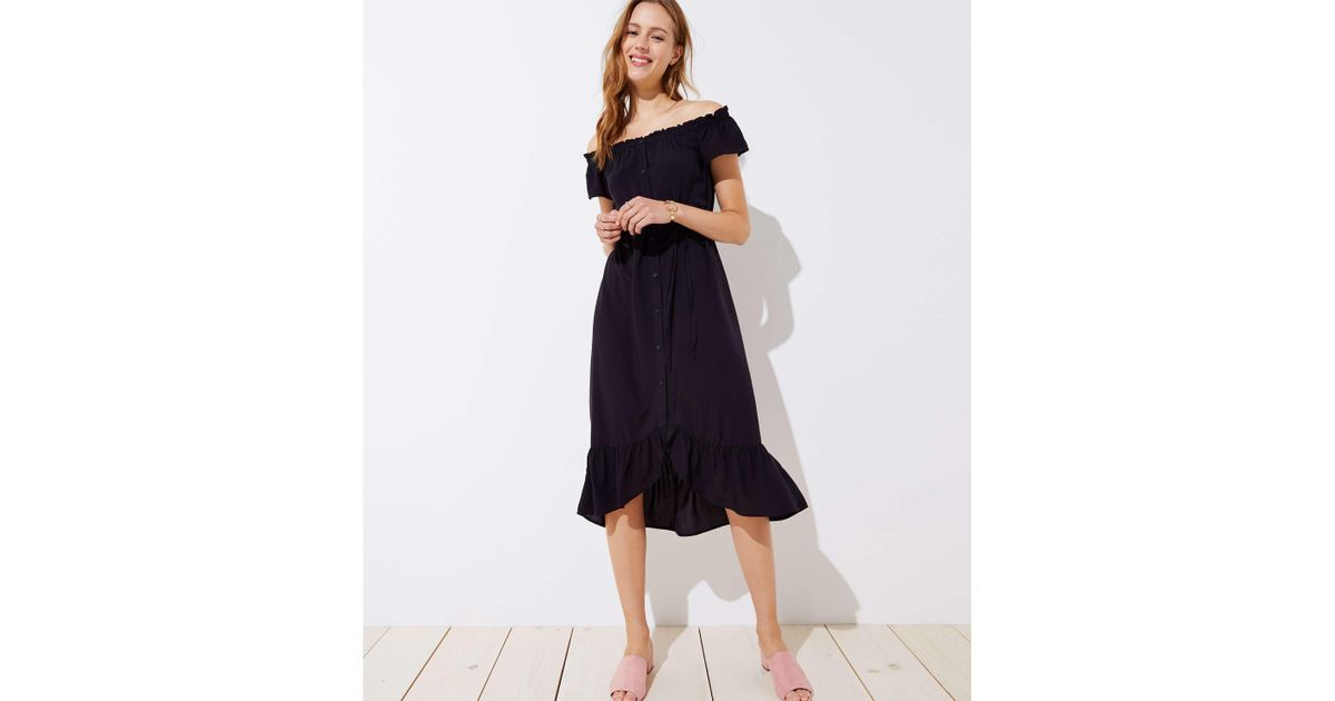 dd8040e27c82 LOFT Petite Off The Shoulder Button Down Midi Dress in Black - Lyst