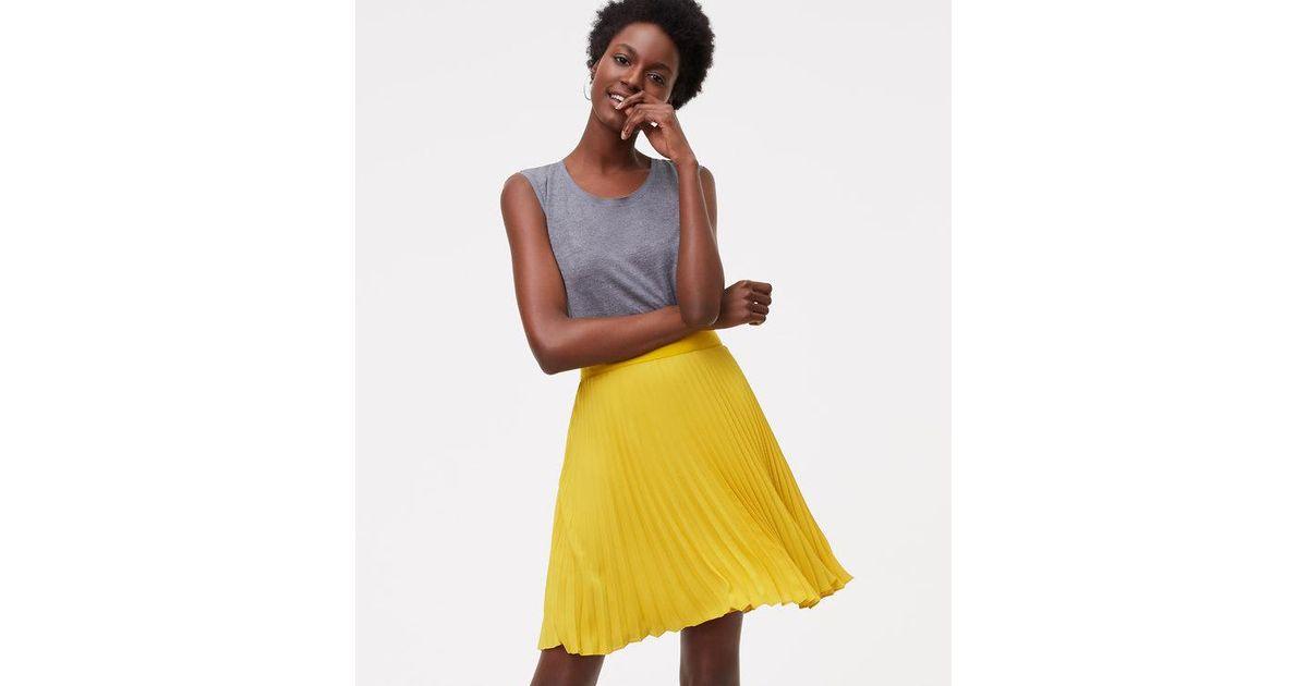 91ae8ed282 LOFT Petite Pleated Skirt in Yellow - Lyst