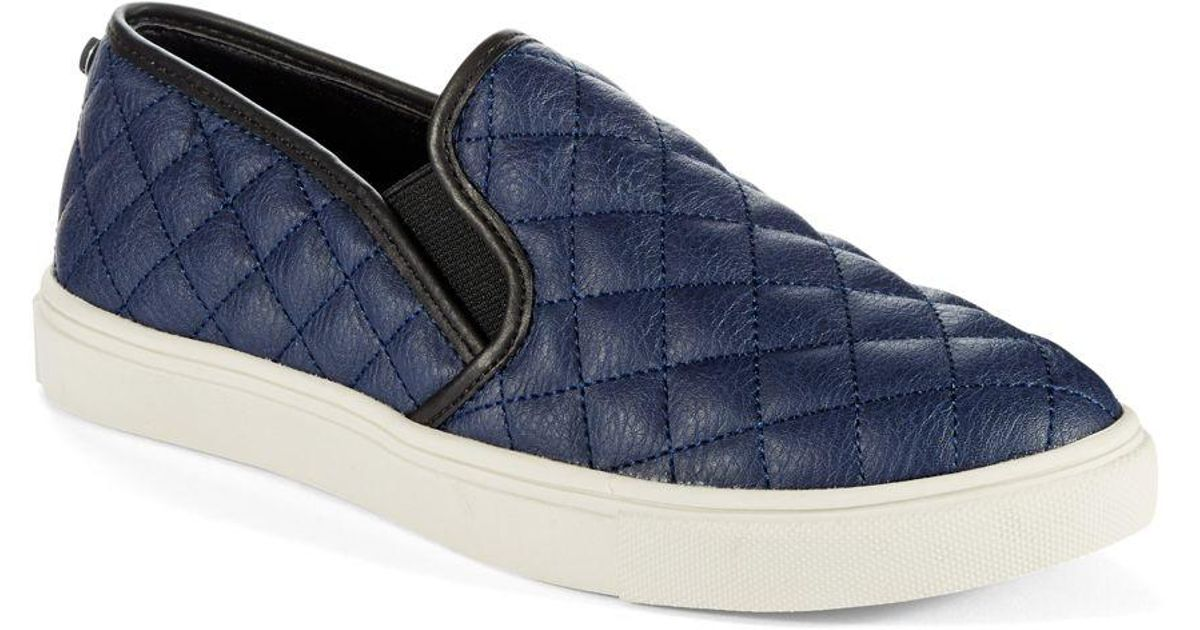a245b19a137 Lyst - Steve Madden Ecentrcq Quilted Faux Leather Slip-on Sneakers in Blue