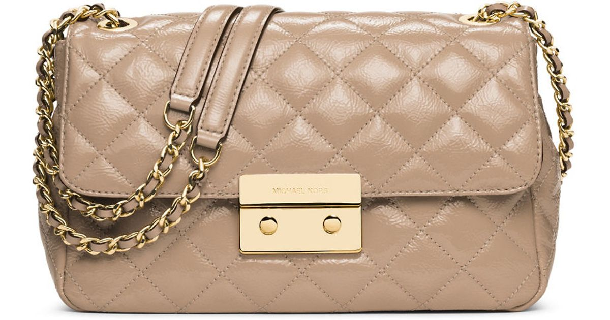 615a55f1acd5 Michael michael kors Sloan Quilted Leather Shoulder Bag in Natural | Lyst