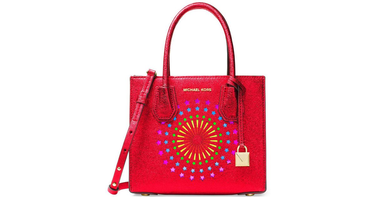 78a10ffc99ff2d Michael Michael Kors Modern Disco Mercer Leather Satchel in Red - Lyst