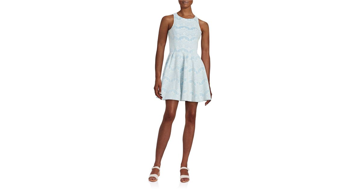 lord taylor lace fit and flare dress in blue blue multi