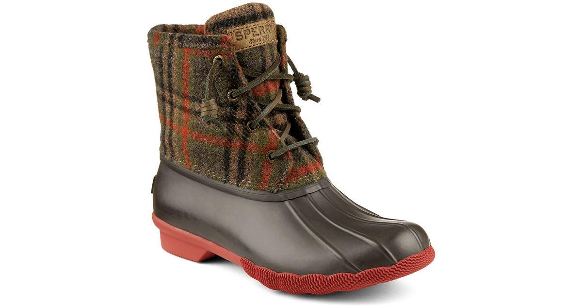 Sperry Top Sider Saltwater Woolen Plaid Duck Boots In