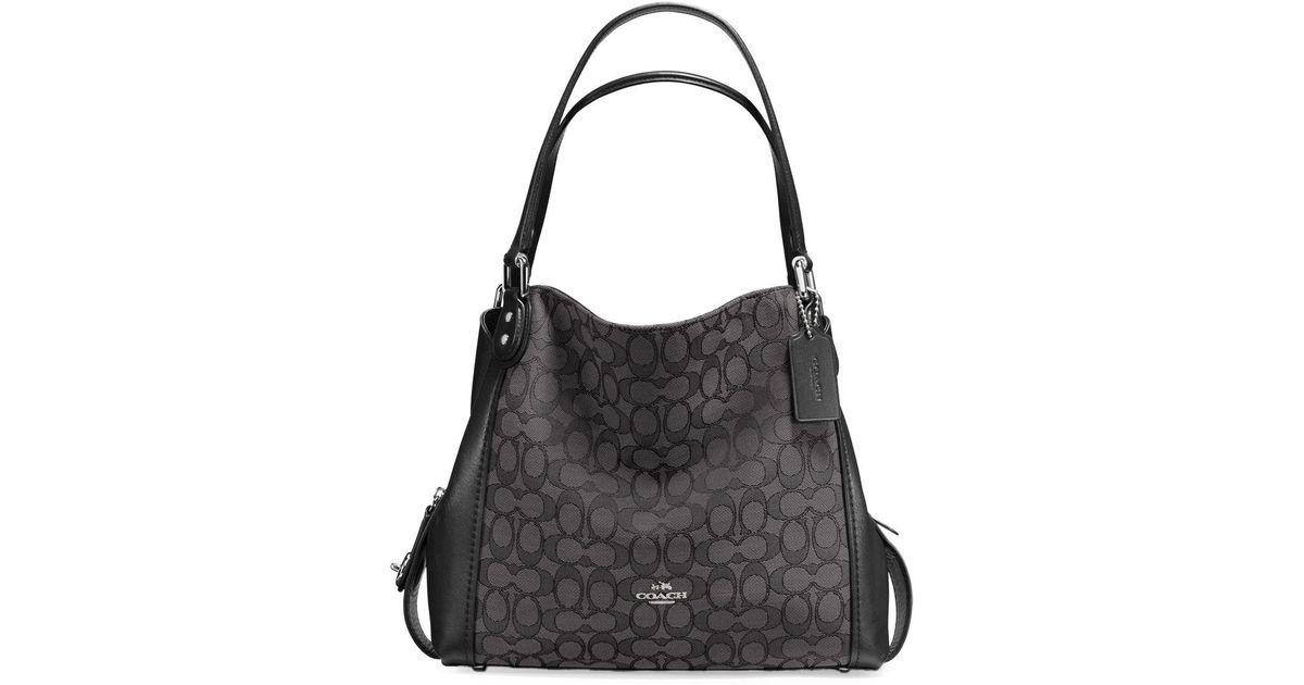 a114ff8246b65 canada coach edie 31 signature jacquard shoulder bag in black lyst 5ff11  9be42
