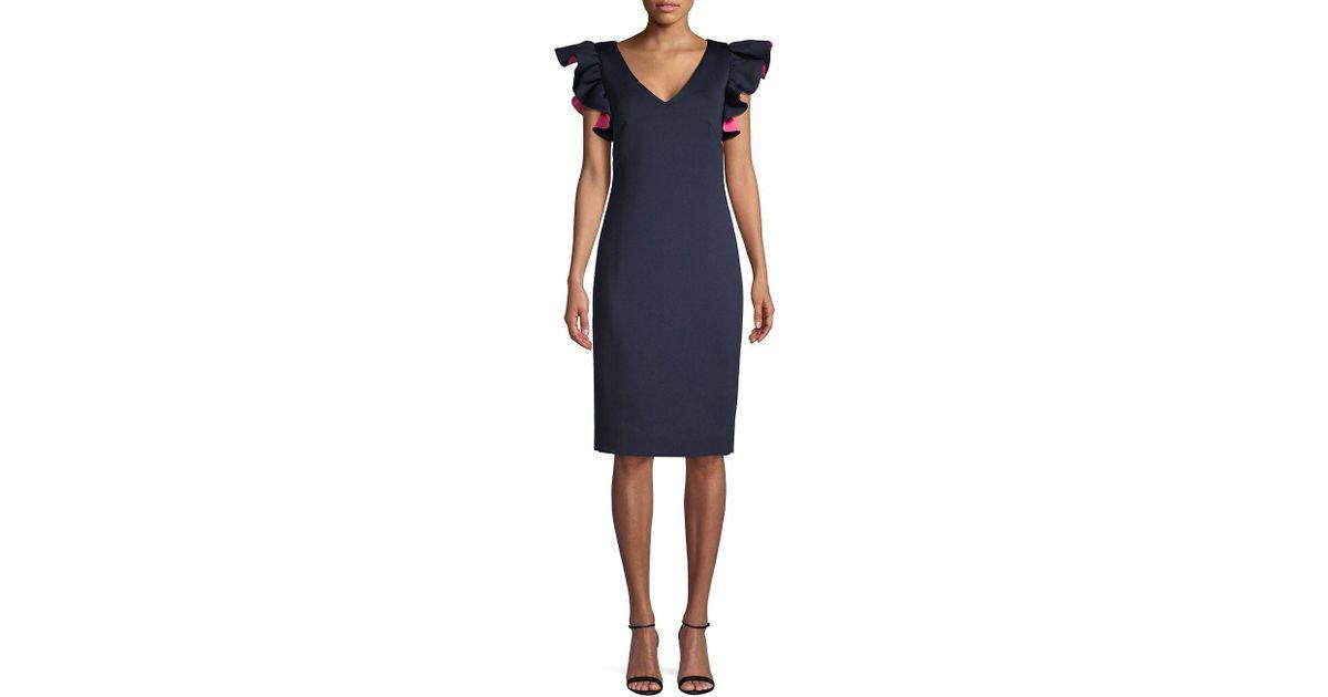 d9b8febeee9 Lyst - Eliza J Flutter-sleeve Sheath Dress in Blue