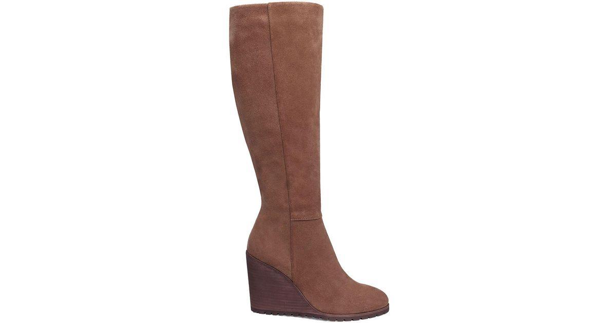 463dde85a64 Lyst - Splendid Suede Knee-high Wedge Boots in Brown