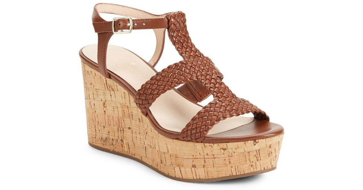 43ccc7281d13 Lyst - Kate Spade Tianna Woven Leather Cork Platform Wedge Sandals in Brown