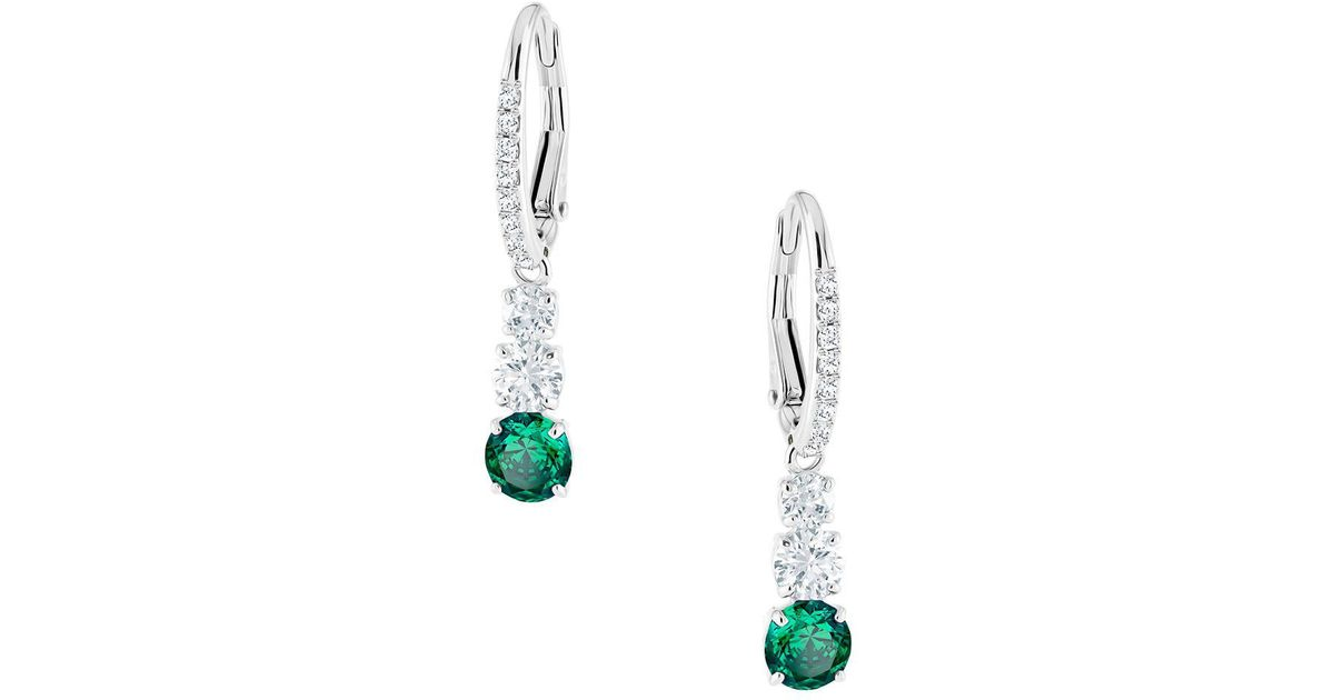 086f7ff17 Swarovski Attract Trilogy Rhodium Plated And Crystal Round Pierced Earrings  in Metallic - Lyst