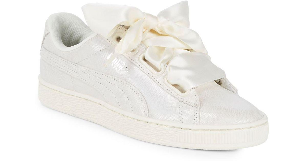 In In In Lace Blanco Lyst Sneakers Up Puma Ribbon Leather PwqaaX c3d3e4