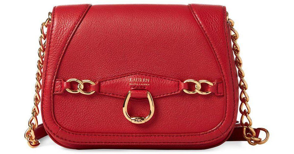 Lyst - Lauren By Ralph Lauren Leather Crossbody Bag in Red 6427c845ba37d