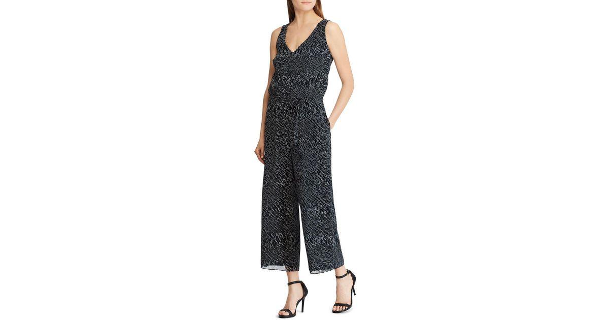 f7785391309 Lyst - Lauren By Ralph Lauren Crepe Wide-leg Jumpsuit in Blue