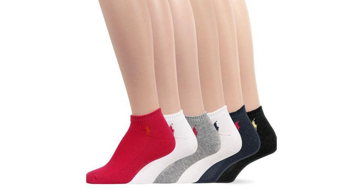 Ralph Lauren 6-pack Cushion Sole Mesh Top Polo Sport Socks in Red - Lyst 0eea6608013