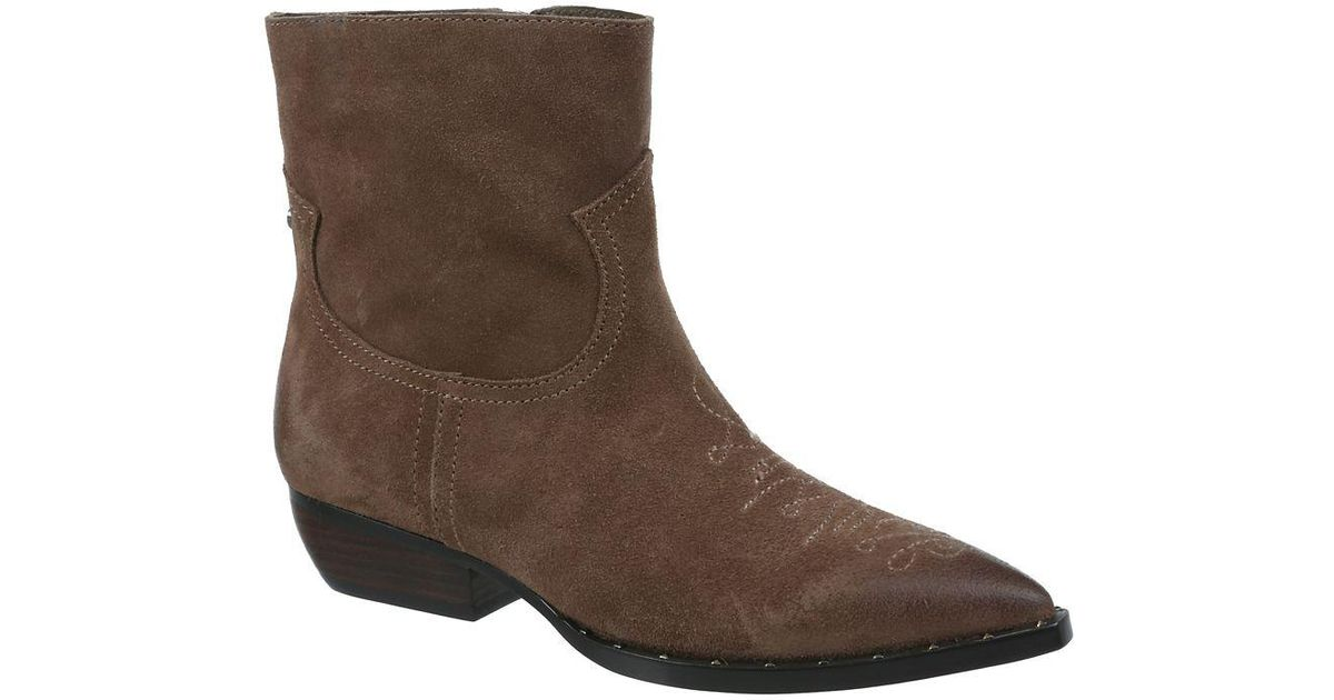 0eac444d7f5 Sam Edelman - Brown Ava Suede And Leather Booties - Lyst
