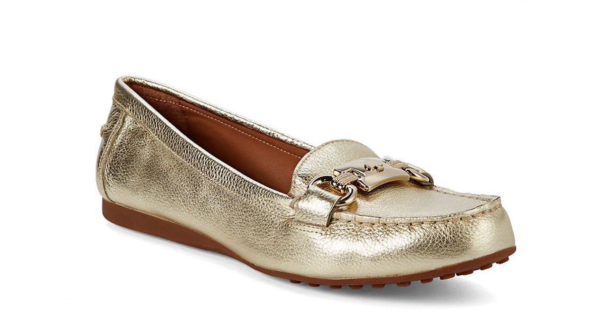 6f58097e7a6 Lyst - Kate Spade Carson Leather Drivers in Metallic