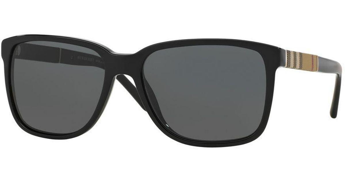 6763b57d9594 Burberry 58mm Check-print Wayfarer Sunglasses in Black for Men - Lyst