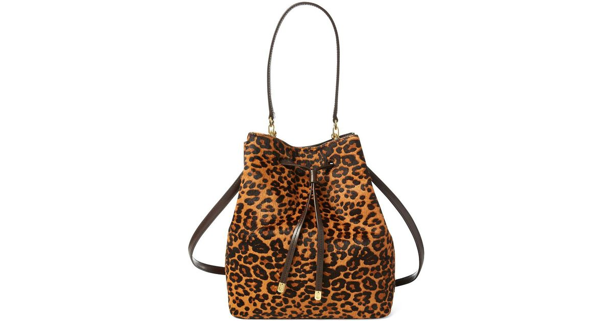 6ade3ae671 Lyst - Lauren By Ralph Lauren Leopard Print Calf Hair Debby Drawstring Bag  in Brown