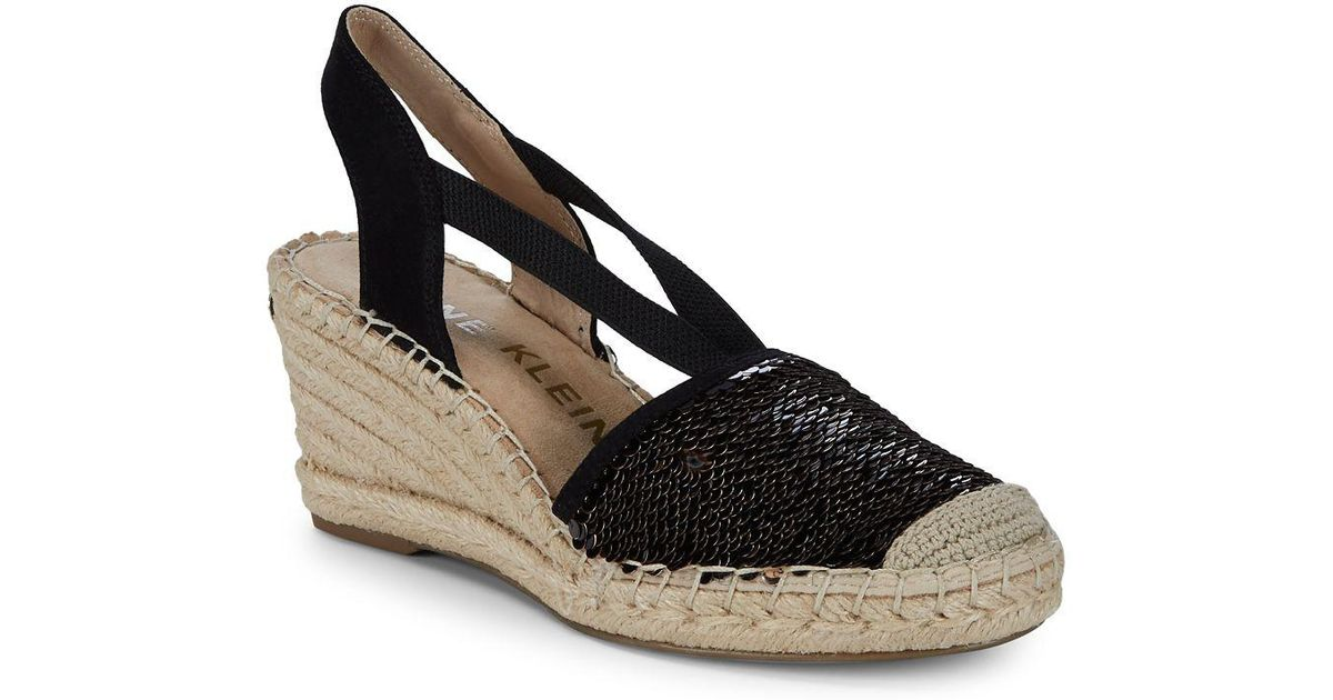 136ba49fd781 Lyst - Anne Klein Abbey Espadrille Wedge Sandals in Black