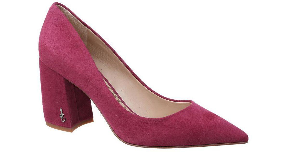 036e0f28fc Sam Edelman Tatiana Block Heel Suede Pumps in Pink - Lyst