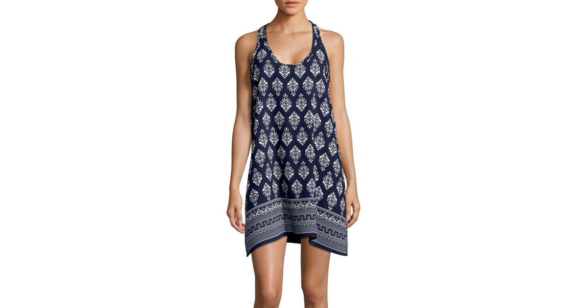 7f5069668de J Valdi - Blue Batik Handkerchief-hem Coverup Dress - Lyst