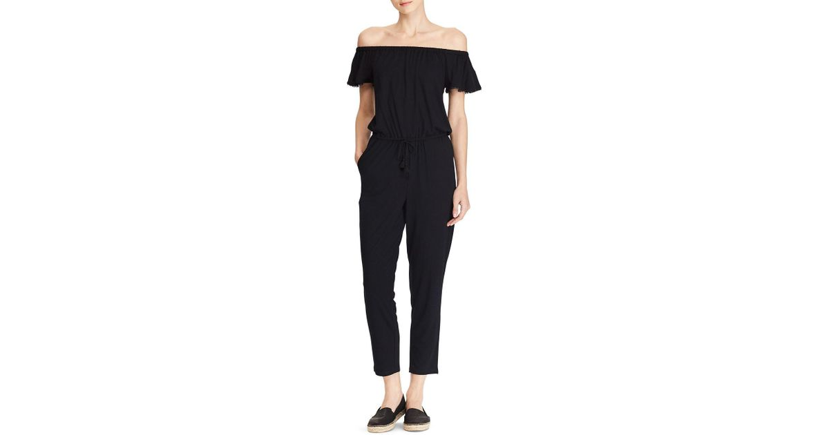 4595a2a3a1a Lyst - Lauren By Ralph Lauren Off-the-shoulder Jumpsuit in Black