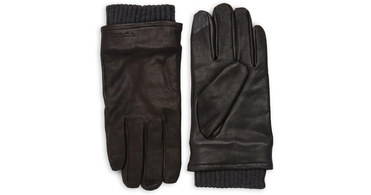 9d2f31f0608 Calvin Klein Leather Driving Gloves in Black for Men - Lyst