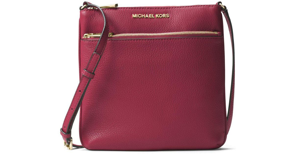 1570124c4852 Michael Michael Kors Bedford Small Flat Leather Crossbody Bag in Red - Lyst