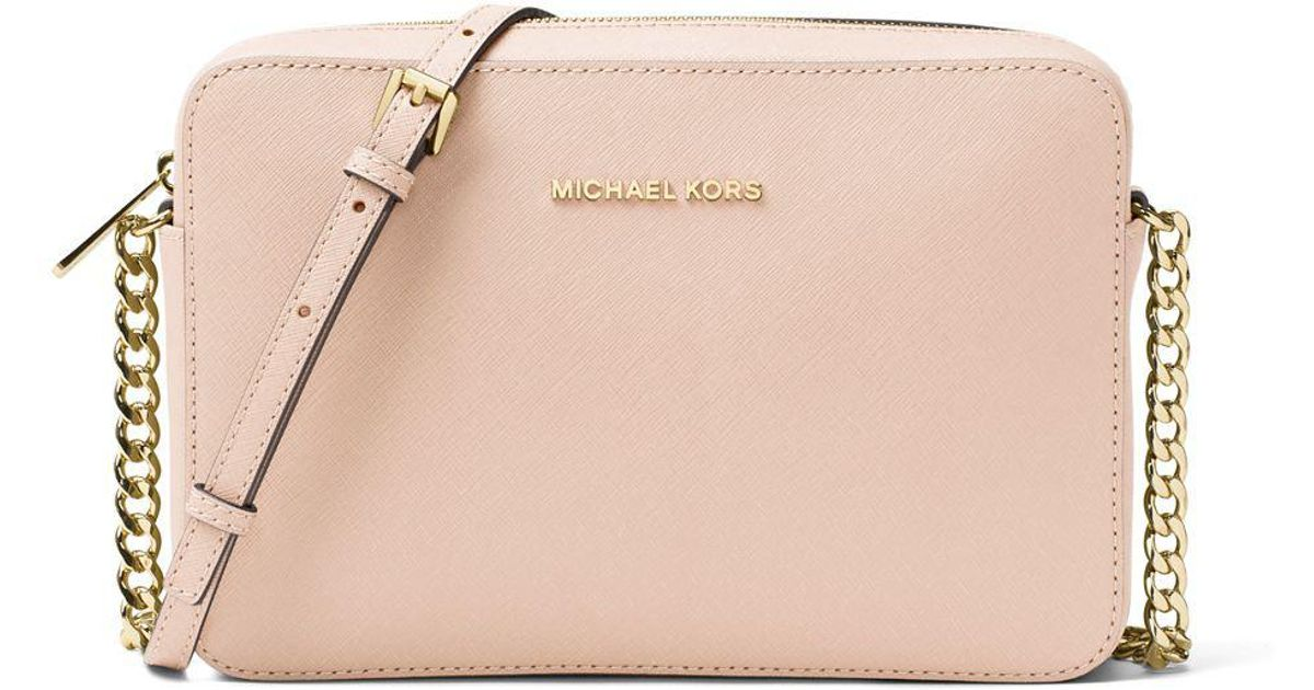 27260a8d65b2 ... czech lyst michael michael kors leather chain crossbody bag in pink  af454 f0aa8