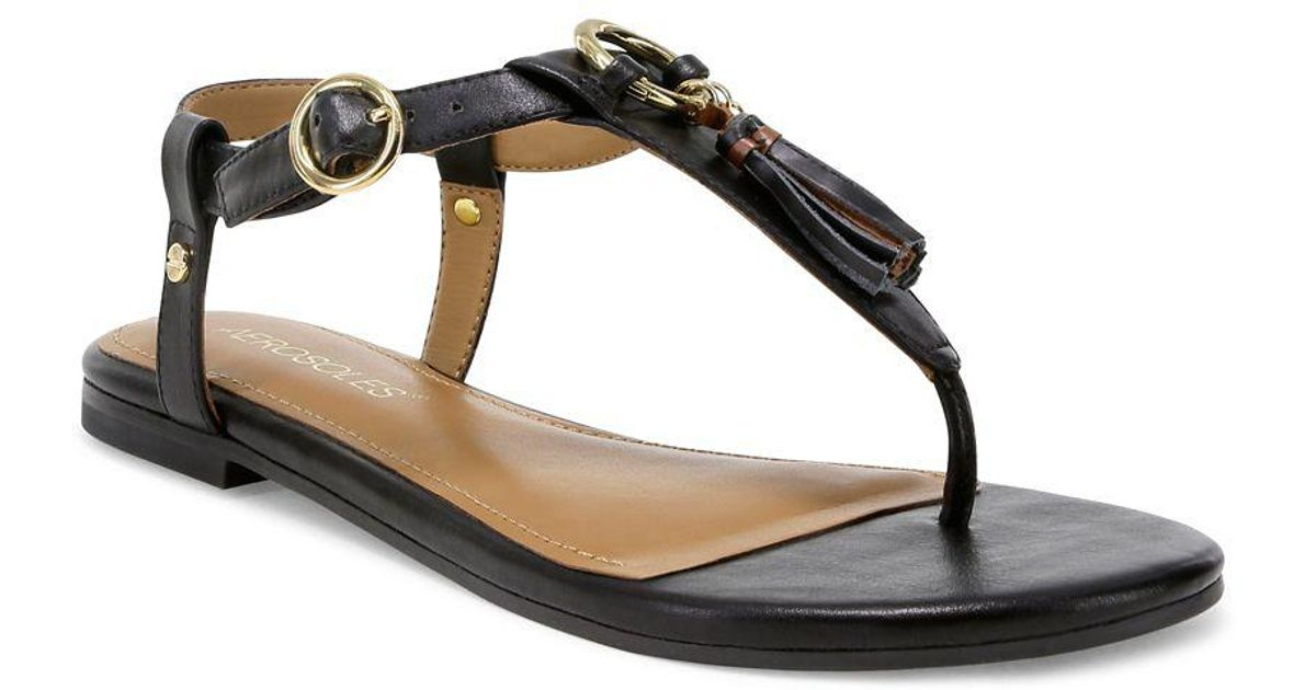 bf49c01c125fd Lyst - Aerosoles Short Circuit Faux Leather Thong Sandals in Black