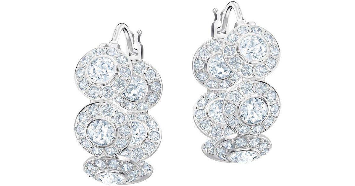72efb8230 Swarovski Angelic Crystal Hoop Earrings in Metallic - Lyst