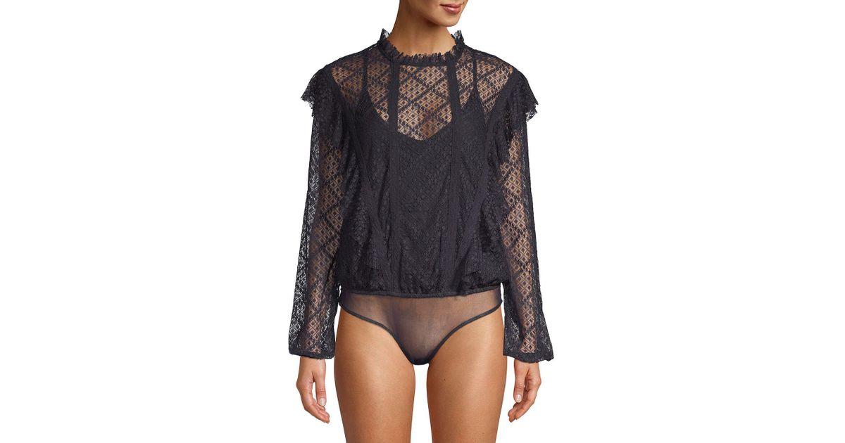 be8fb8ab Free People Ivy Goldie Bodysuit in Black - Lyst