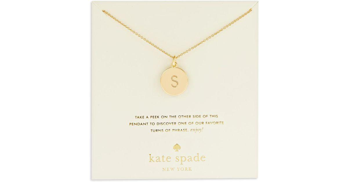 Lyst kate spade engraved letter pendant necklace in metallic aloadofball Gallery