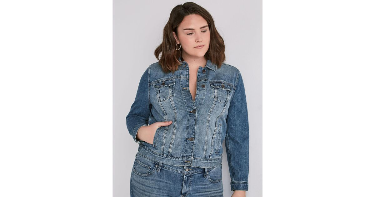 15f872a5d95 Lyst - Lucky Brand Plus Size Classic Denim Jacket In Verve in Blue