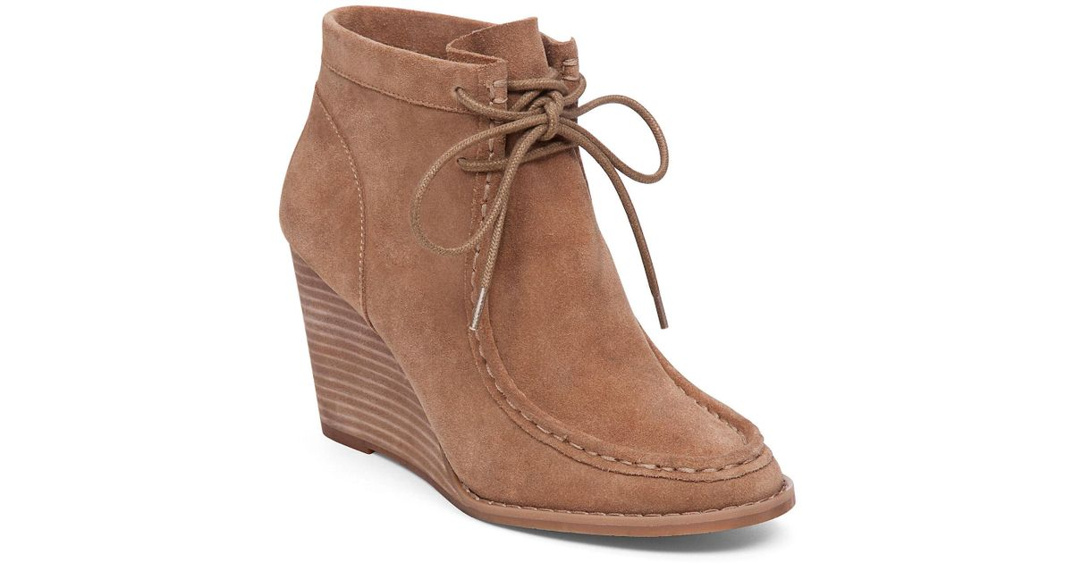 a4a4d4e3b30 Lyst - Lucky Brand Ysabel Wedge Bootie in Brown