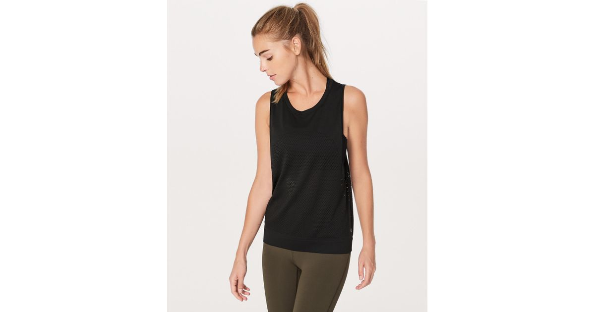 57d73be2cb4e85 Lyst - lululemon athletica Breeze By Muscle Tank Ii in Black
