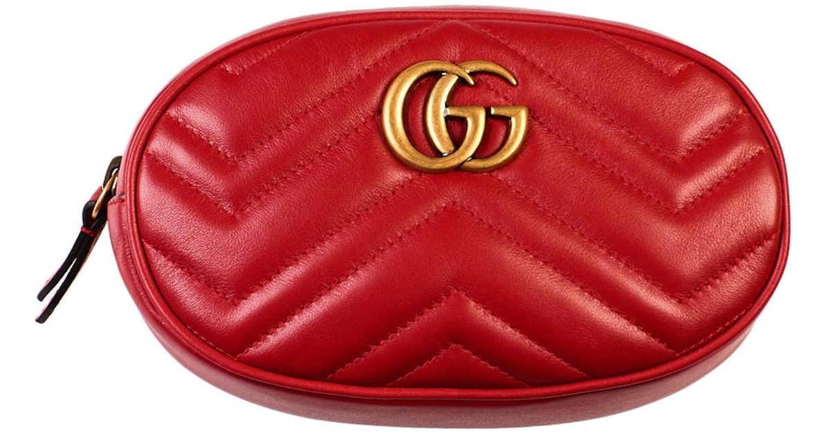 1cd984c7b6ac Gucci Marsupio GG Marmont Rosso in Red - Lyst