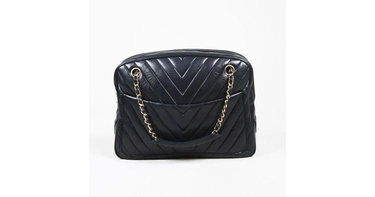 f84ac5e45a8e Chanel Black Chevron Lambskin Leather