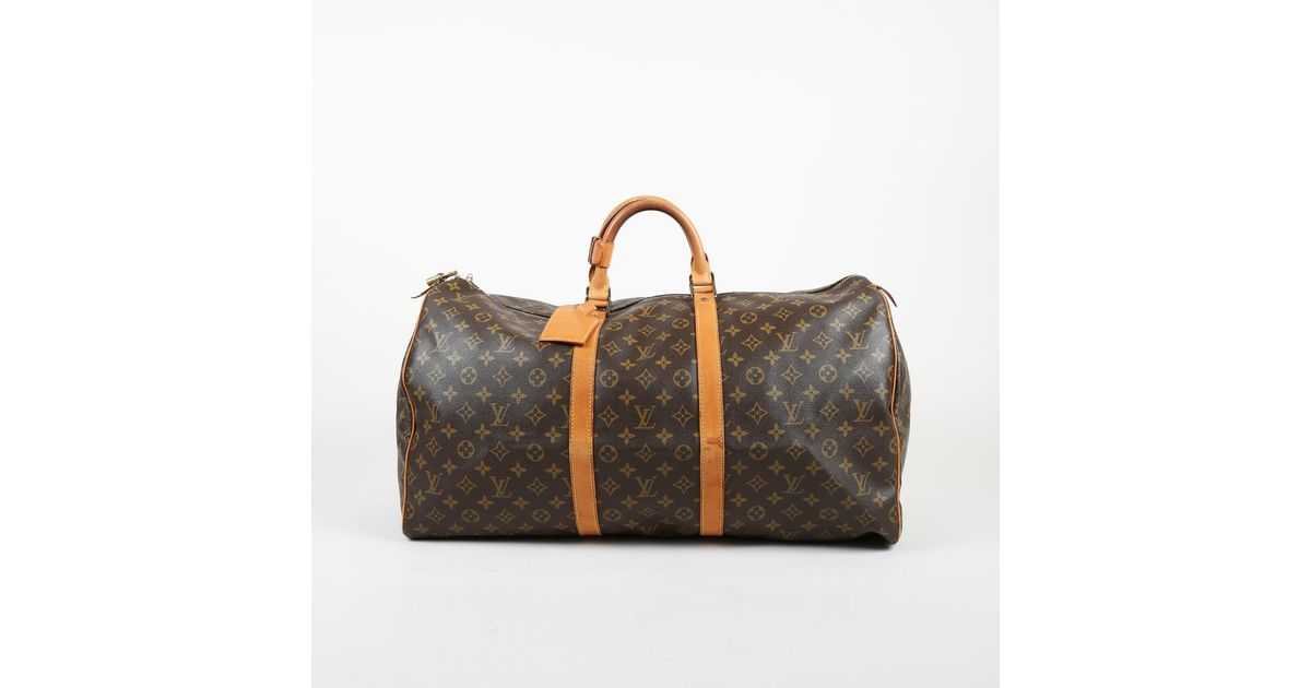 Louis Vuitton Vintage Brown Monogram Coated Canvas Leather Keepall 50 Bag  in Brown - Lyst c139f57109964