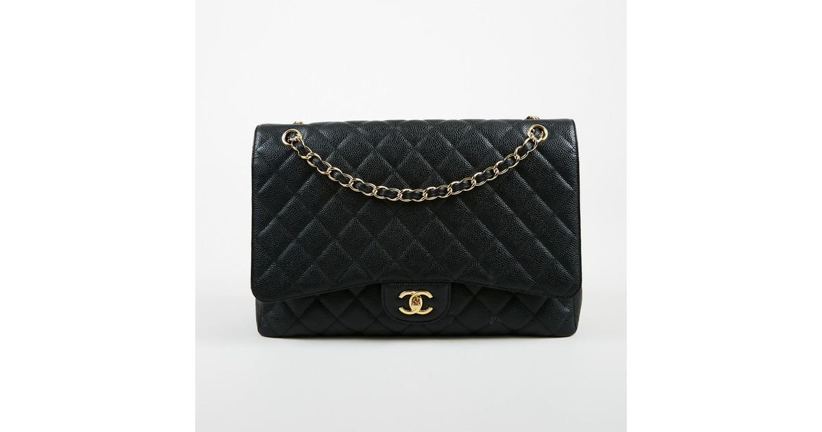 f8f26542d8ae Lyst - Chanel Black Quilted Caviar Leather