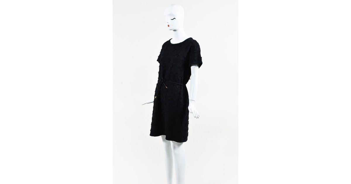 Lyst Louis Vuitton Black Monogram Lace Short Sleeve Drawstring Tie