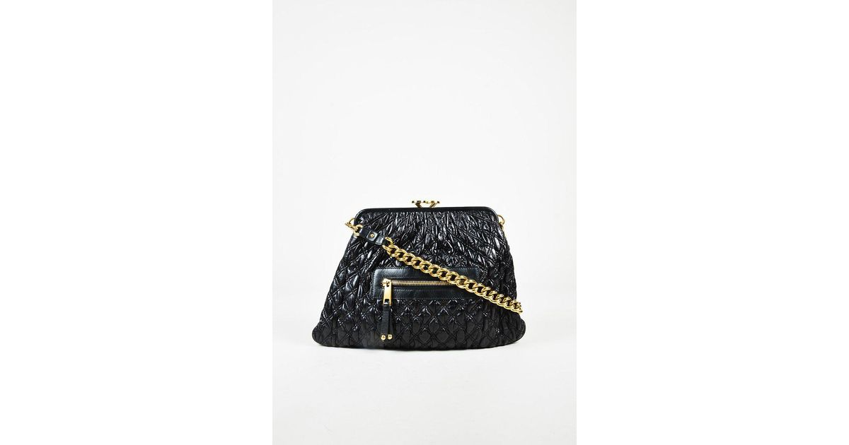 aedddda7942 Lyst - Marc Jacobs Black Leather Quilted Chain Strap