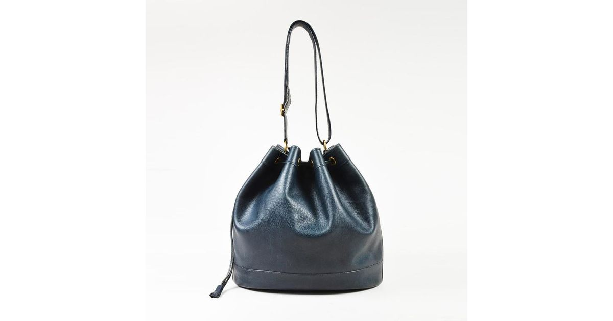 Lyst - Hermès Vintage Navy Blue Grained Leather Drawstring