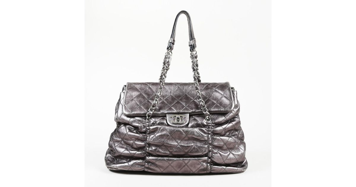 8e833b983703 Lyst - Chanel Quilted Sharpei Leather Shoulder Bag in Metallic