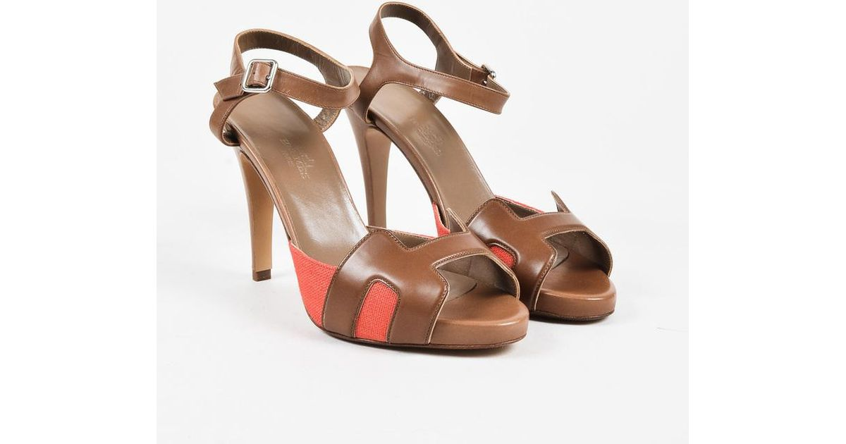 2d87a1342 Lyst - Hermès Brown Leather Coral Canvas Peep Toe High Heel Sandals in Brown