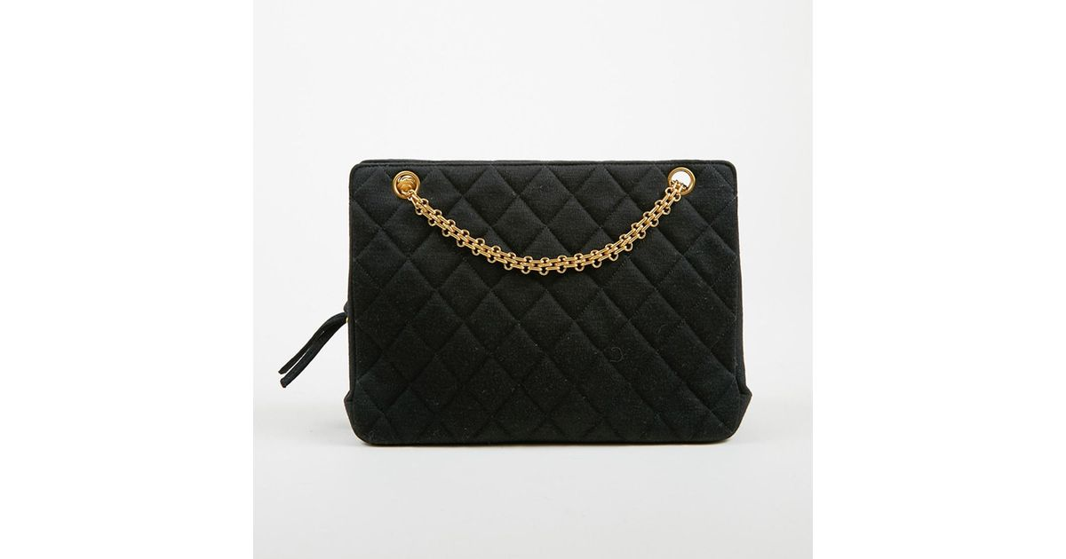 2a472c877a2b Lyst - Chanel Vintage Black Quilted Gold Tone Chain Link Shoulder Bag in  Black