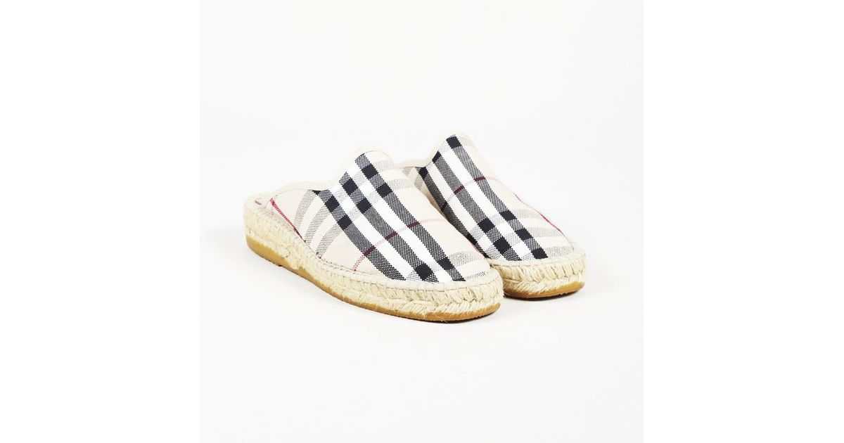 605bb2420 Burberry Nova Check Canvas Espadrille Mules in Natural - Lyst
