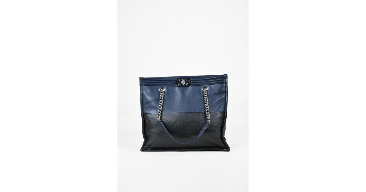 42295aad4cf3 Lyst - Chanel Fall 2015 Blue Black Calfskin Leather