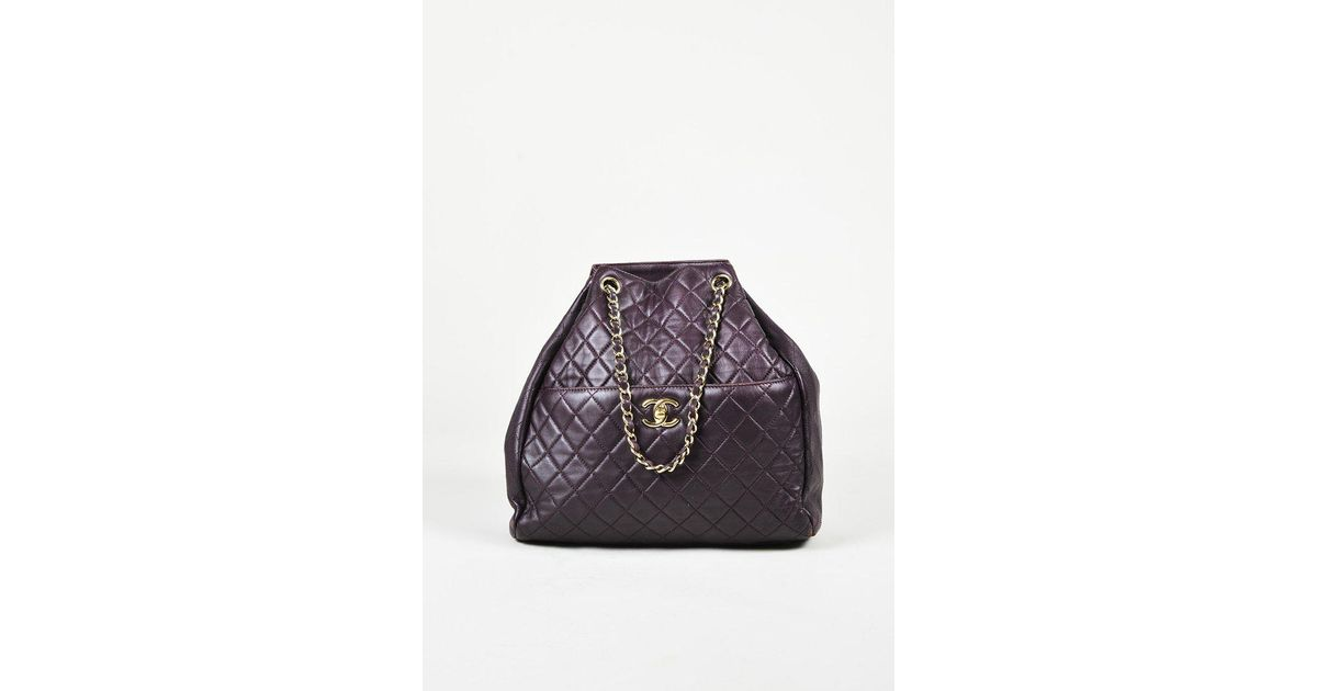0aa3f7419403d Chanel Dark Purple Quilted Lambskin Leather Gold Tone Bucket Bag in Purple  - Lyst