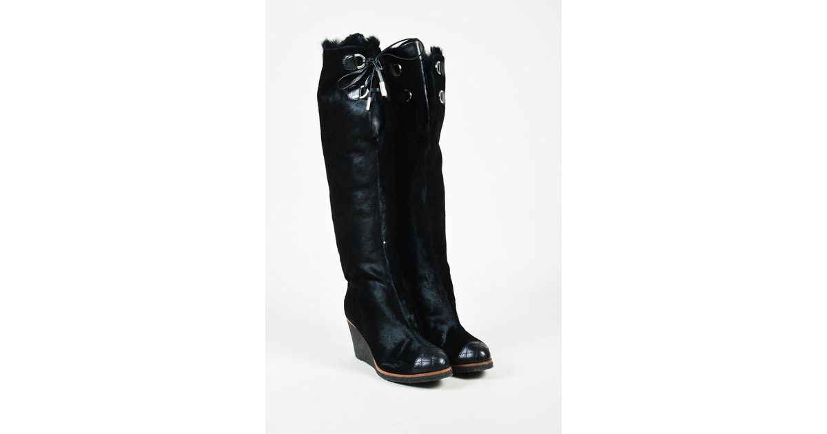 638420532cc Lyst - Chanel Black Pony Hair   Leather Lace Up Cap Toe Over The Knee Boots  in Black
